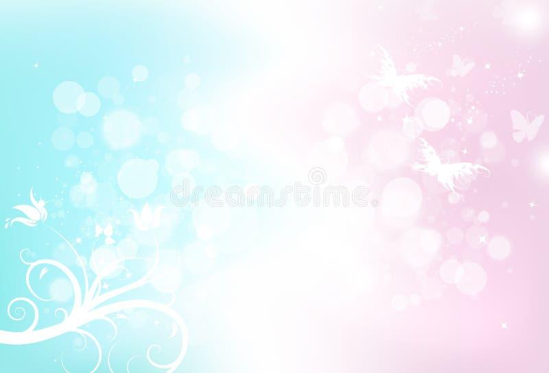 Dispersión borrosa del bokeh mágico de la fantasía de la mariposa con el polvo de estrellas g stock de ilustración