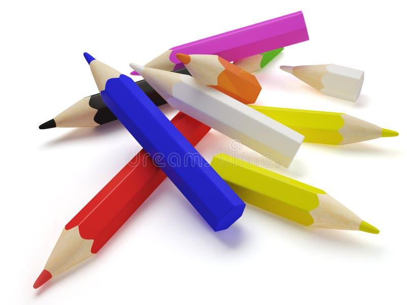 dispersion de crayons illustration de vecteur