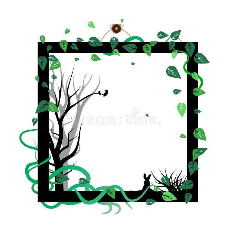 Dispersion de nature d'arbres des feuilles avec l'oiseau et le rab animaux de faune illustration libre de droits
