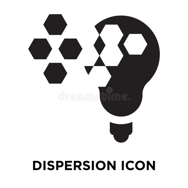 Dispersion icon vector isolated on white background, logo concept of Dispersion sign on transparent background, black filled royalty free illustration