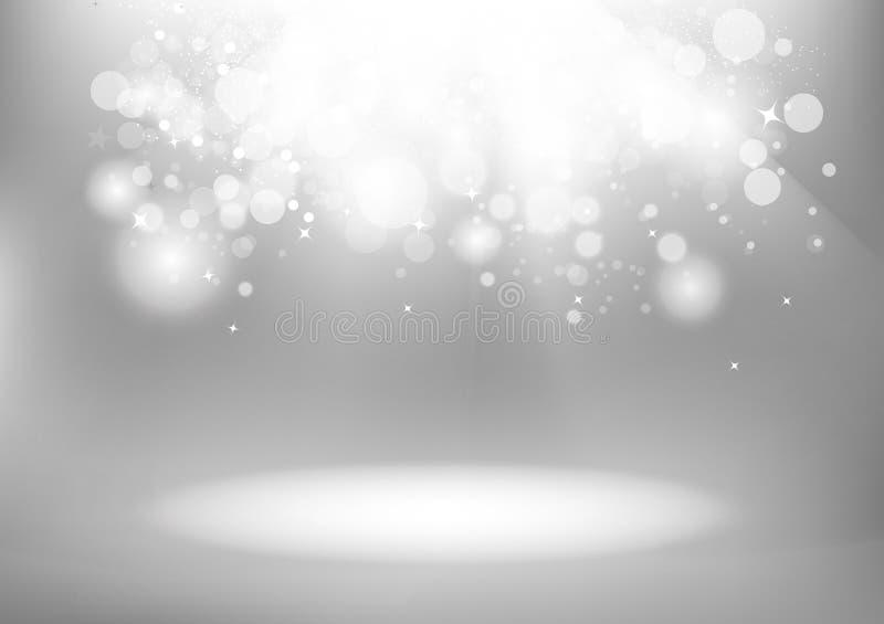 Dispersion magique rougeoyante argentée d'étincelle de Bokeh, saison h de célébration illustration de vecteur