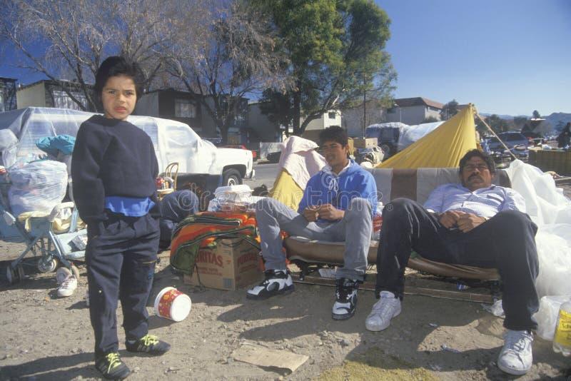 Displaced Hispanics during the earthquake royalty free stock image