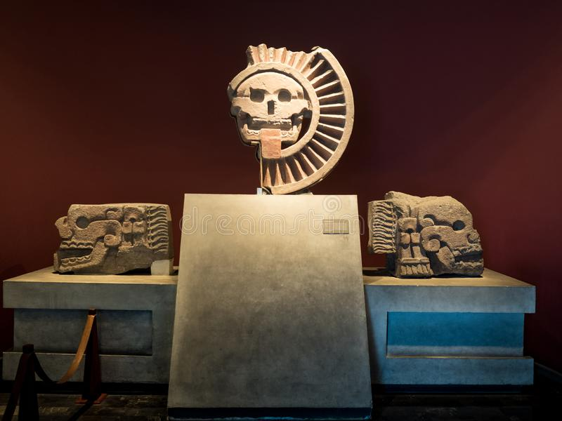 Death Mask Disk in the National Museum of Anthropology in Mexico City royalty free stock images