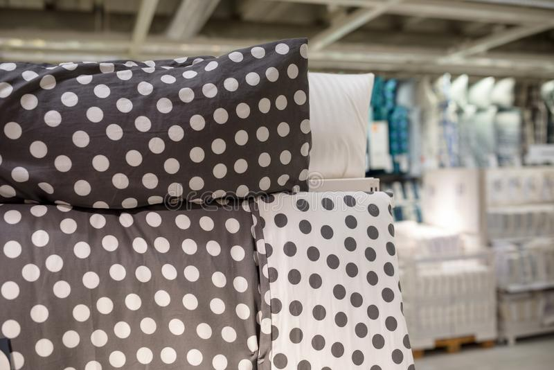 Bed linen for sale at a mall royalty free stock image