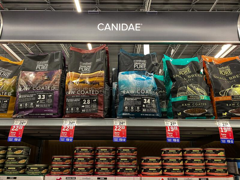 A display of Canidae Dog Food at a Petsmart Superstore. Orlando, FL/USA-1/29/20: A display of Canidae Dog Food at a Petsmart Superstore ready for pet owners to royalty free stock images