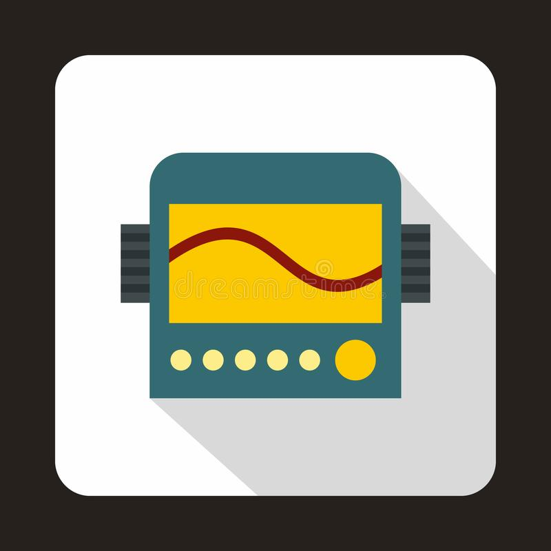 Display with cardiogram, ecg machine icon. In flat style on a white background royalty free illustration