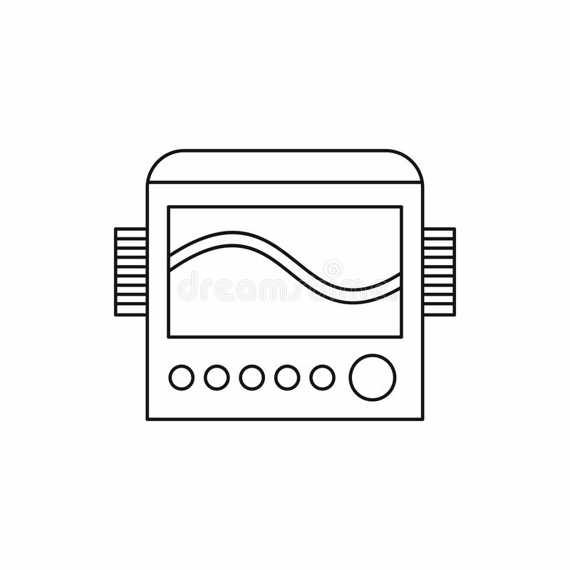 Display with cardiogram, ecg machine icon. In outline style on a white background vector illustration