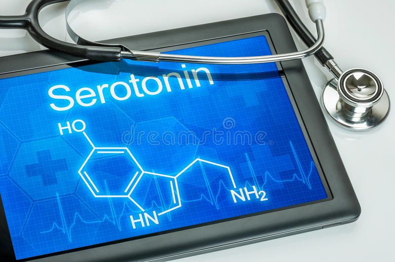Display with the chemical formula of serotonin stock image