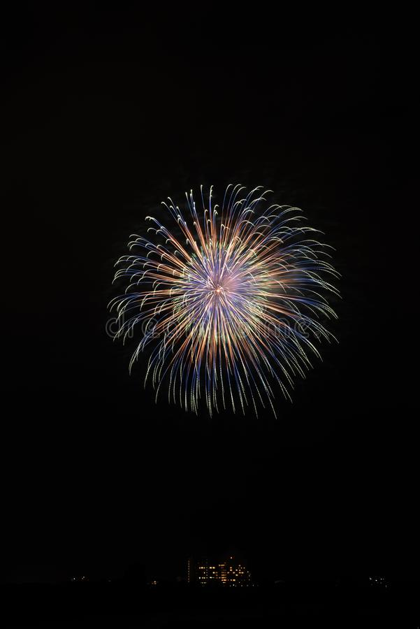 A display of colorful fireworks are very beautiful royalty free stock photos