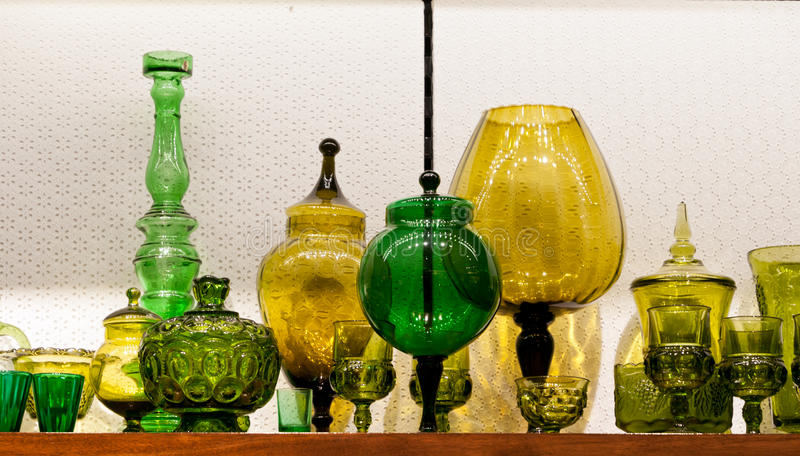 Display with colorful Italian glassware royalty free stock image