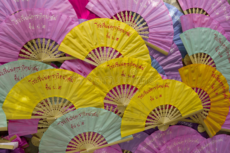 Display of colorful thai fans stock image