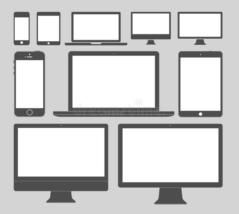 Display Devices Icons. Vector illustration of different display devices icons, five simple and five detailed