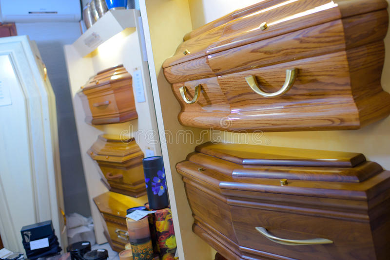 Display different styles coffins. Display of different styles of coffins royalty free stock photos