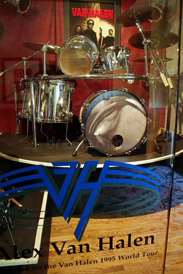 Display of drum kit used by Alex Van Halen. Las Vegas,NV/USA - 31 Oct,2014 : Display of drum kit used by Alex Van Halen member of Van Halen stock photo