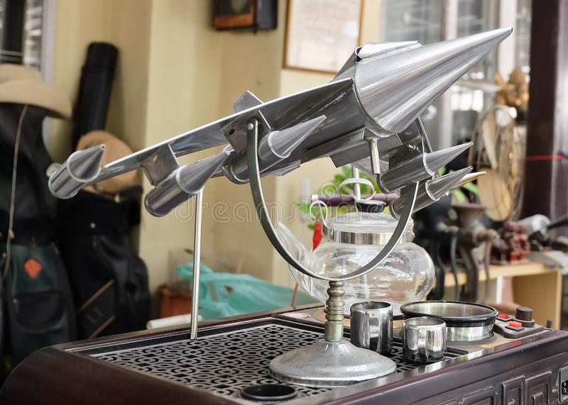 Display Fighter Aircraft Models in Vintage Shop. Thailand - June 16, 2016: Retro Static Military or Fighter Aircraft Models Display in A Vintage and Antique Shop royalty free stock image
