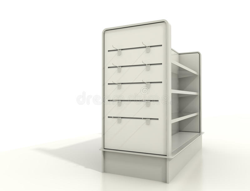 Display fixtures with slat wall and shelves. Slat-board display with peg-hooks and shelves stock photos