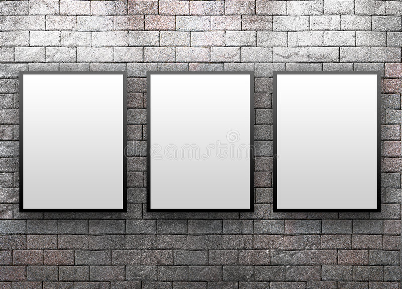 Display Gallery with Thre Frames stock photography