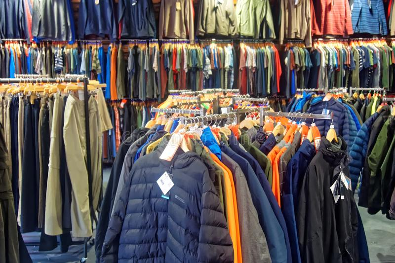 A display of men`s outdoor clothing. stock photos