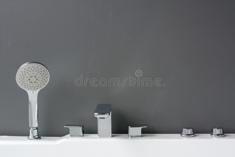 Variety of faucets in a showroom stock photography