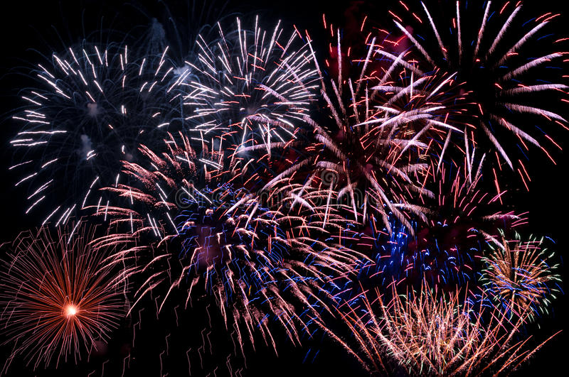 A display of multiple bursts royalty free stock photo