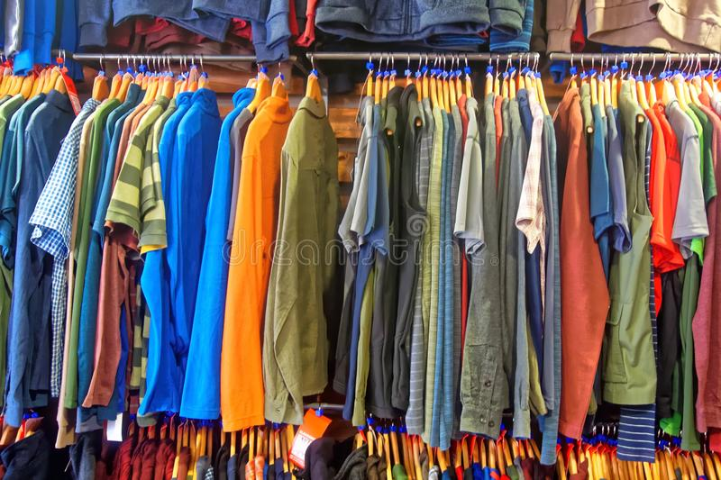 A display of outdoor clothing. An example of a shop display of garments for outdoor recreation stock photos