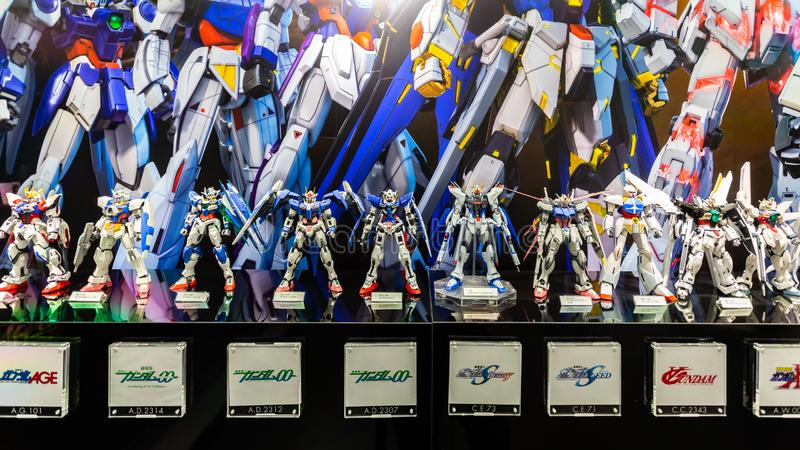 The display of plastic model Mobile Suit Gundam in Gundam shopping center called stock images