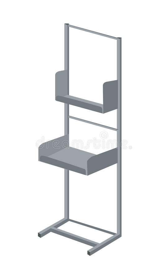 Display rack exhibitor vector. Vector illustration of common display rack for advertising, free press, magazines, newspapers and flayers for commercial purpose royalty free illustration