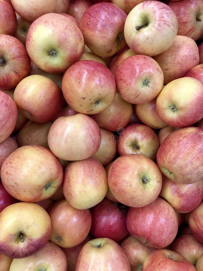 Display of red apples for sale stock photos