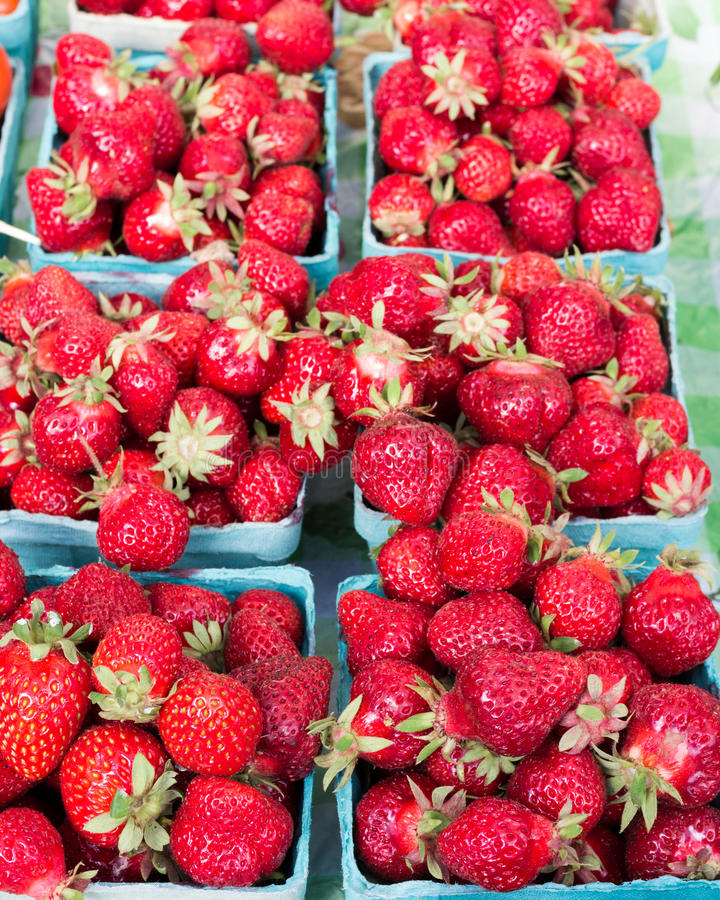 Display of red strawberries stock photo