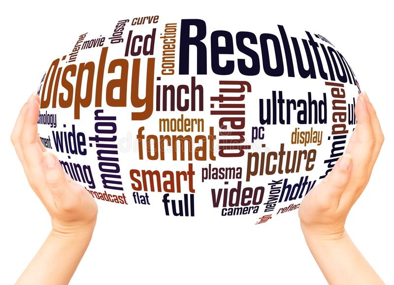 Display Resolution word cloud hand sphere concept royalty free illustration