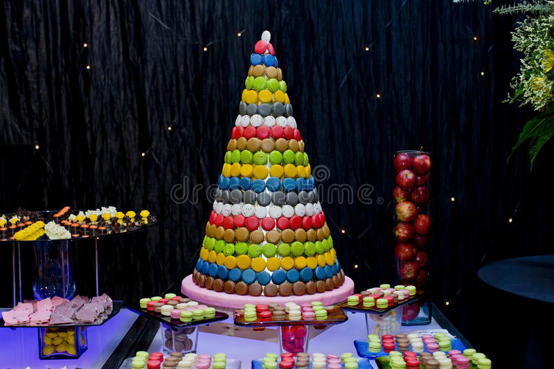 Display Sweet and colourful french macaroons in Party. Closeup Display Sweet and colourful french macaroons in Party royalty free stock image