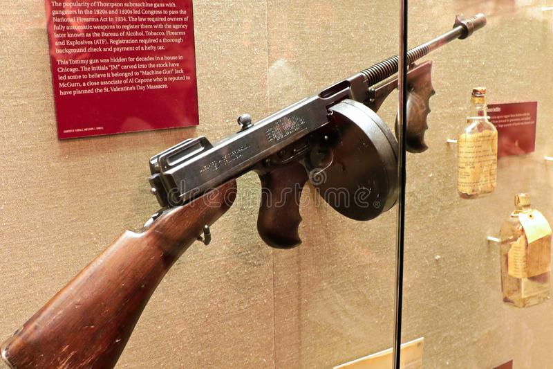 Display Thompson submachine gun. Photo of the The Mob Museum display Thompson submachine gun. Also used in mafia movies such as the movie `The Godfather royalty free stock image