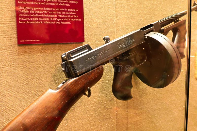 Display Thompson submachine gun. Photo of the The Mob Museum display Thompson submachine gun. Also used in mafia movies such as the movie `The Godfather stock image