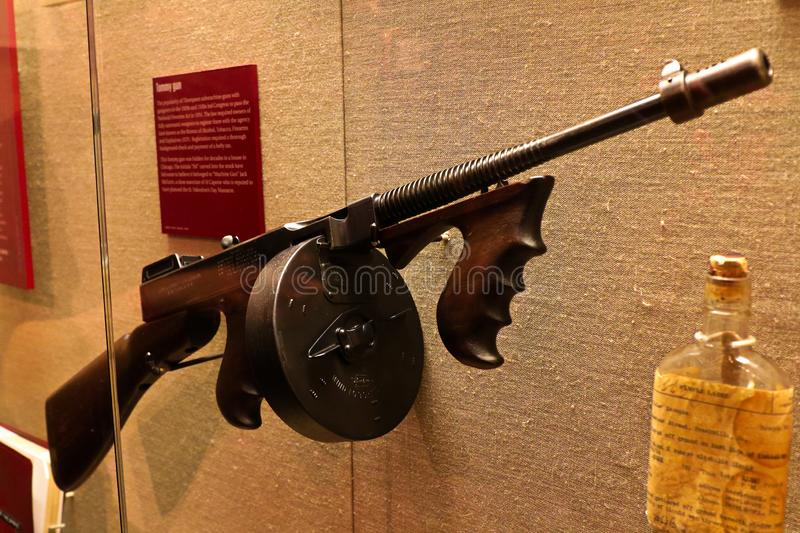 Display Thompson submachine gun. Photo of the The Mob Museum display Thompson submachine gun. Also used in mafia movies such as the movie `The Godfather stock photo