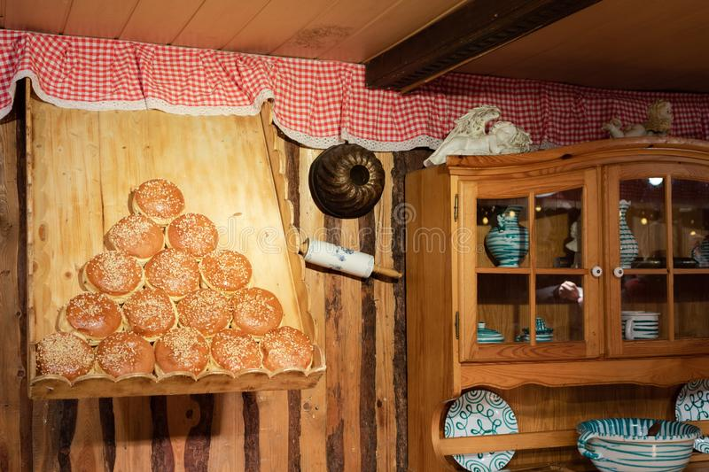 Display of traditional doughnuts on sale at street market stall in Vienna. Display of traditional doughnuts on sale at street market stall in Austria royalty free stock photo