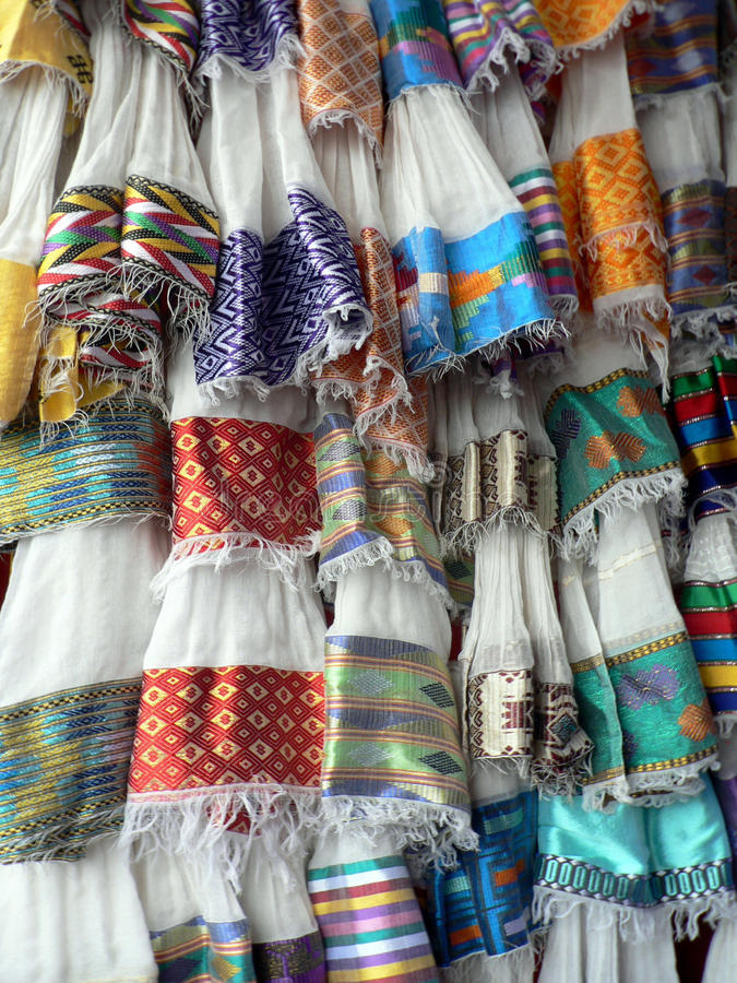 Display of traditional Ethiopian textiles, Addis Ababa. Display of traditional Ethiopian textiles, cotton with woven borders, for use in women& x27;s clothing royalty free stock photo