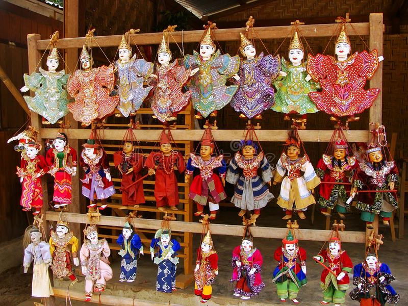 Display of traditional puppets at the street market, Mingun, Man royalty free stock image
