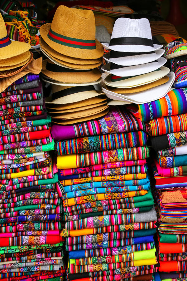 Display of traditional souvenirs at the market in Lima, Peru stock image