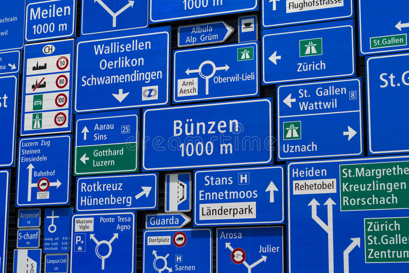 Display of traffic signs in Swiss Museum of Transport in Lucerne, Switzerland. royalty free stock photography