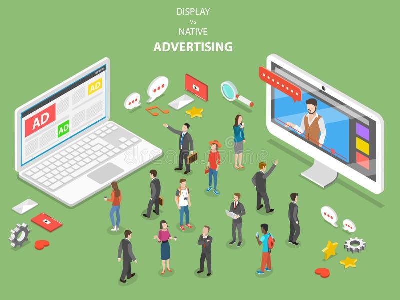 Display vs native advertising isometric vector. vector illustration