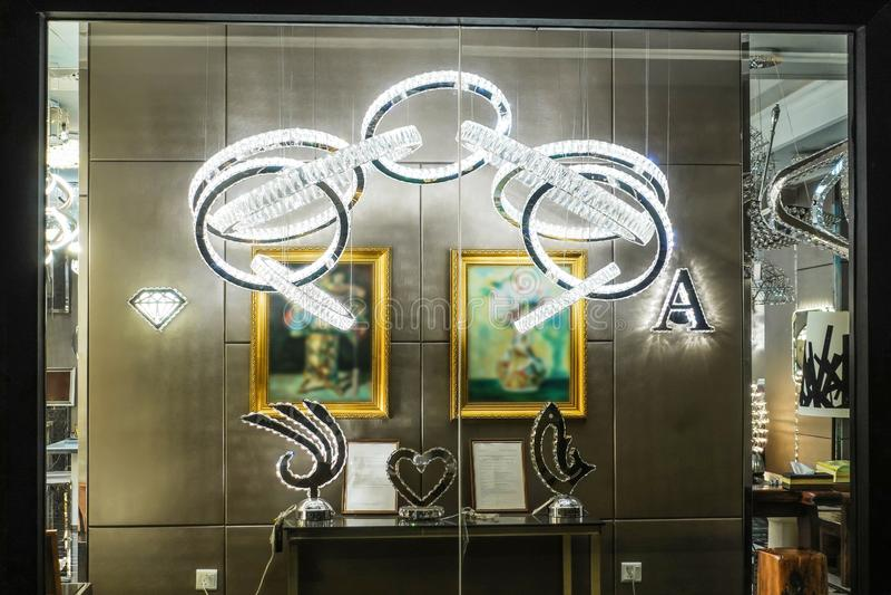 Furniture lighting display window shop window store window stock image