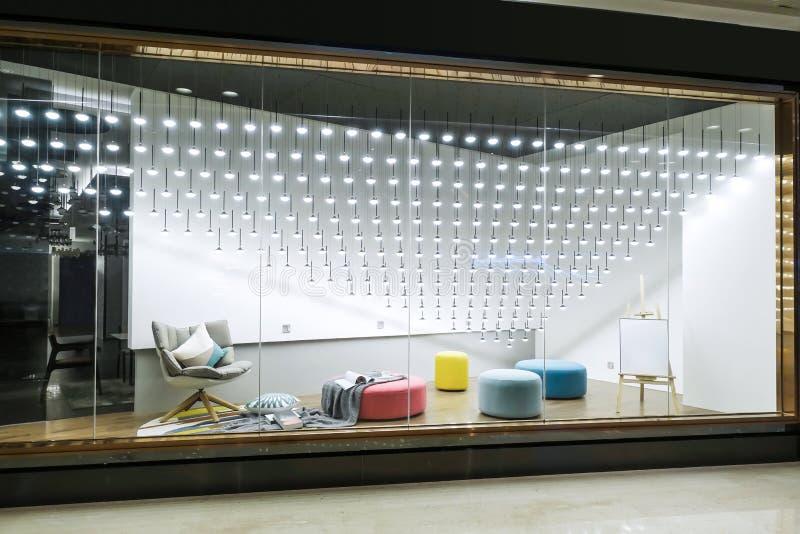 Furniture lighting display window shop window store window stock photo