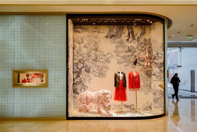 Display window of Dior shop at IFS plaza royalty free stock image