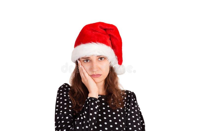Displeased alimentou acima a mulher atrativa na cabeça de inclinação do vestido na palma amuar do descontentamento menina emocion imagens de stock