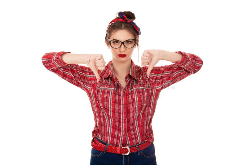 Displeased angry pissed off woman annoyed giving thumbs down. Closeup portrait displeased angry pissed off woman annoyed giving thumbs down gesture with hands royalty free stock photography