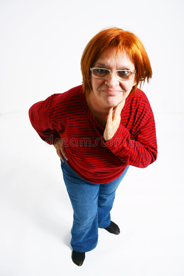 Displeased middle aged woman stock photo