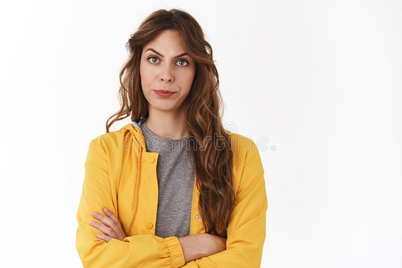 Displeased serious-looking bossy female entrepreneur dislike employees diagrame smirking disapproval frowning annoyed stock photo
