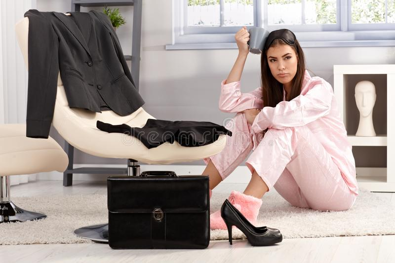 Displeased woman getting ready for business royalty free stock images