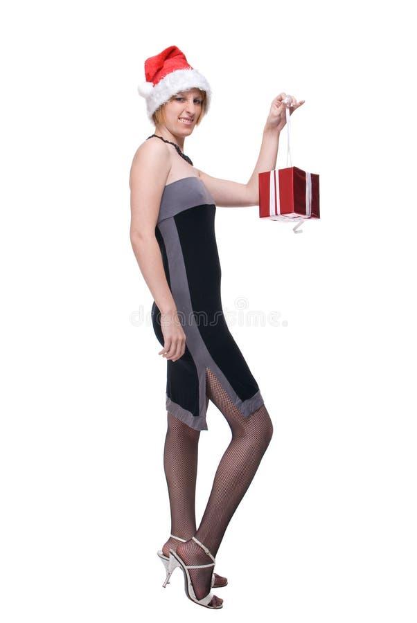 Download Displeasure Girl In Santa Hat With Gi Stock Image - Image: 14987673