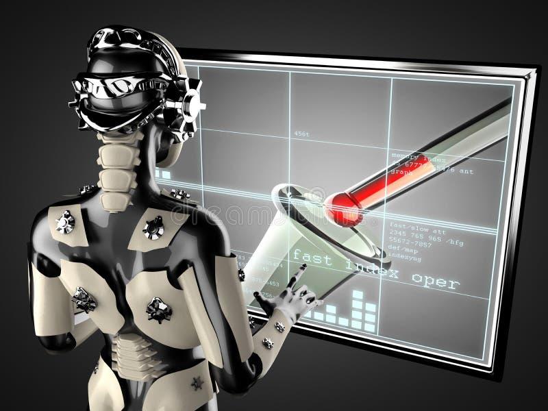 Displey di manipolazione dell'ologramma della donna del robot royalty illustrazione gratis